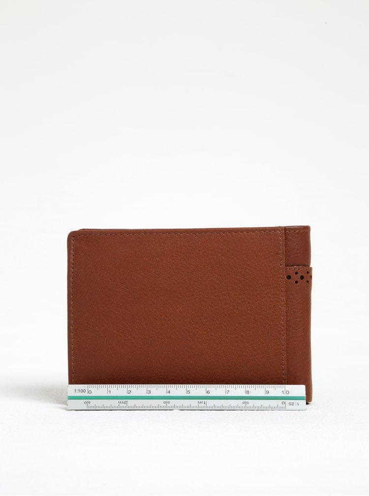 Hnědá kožená peněženka s perforovanými detaily Dice Woodham