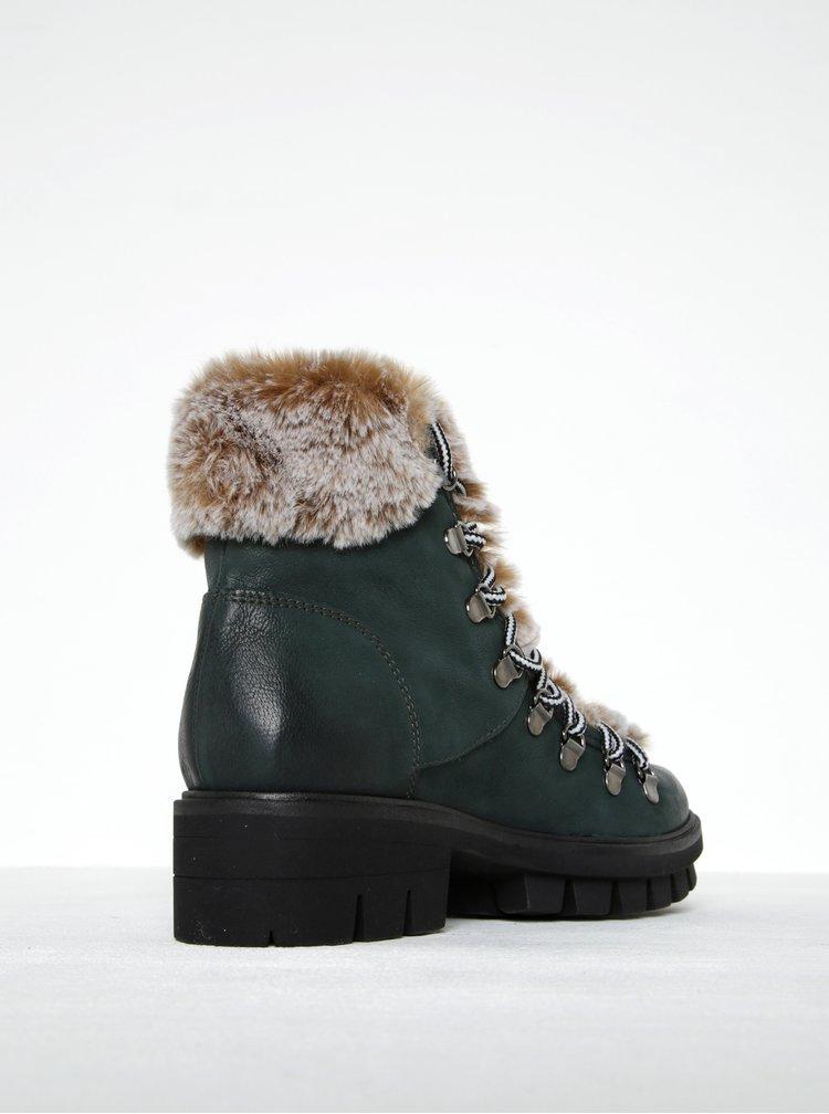 Zelené kožené kotníkové boty s umělou kožešinou Tamaris