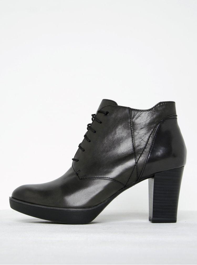 Tmavě šedé kožené kotníkové boty na podpatku Tamaris