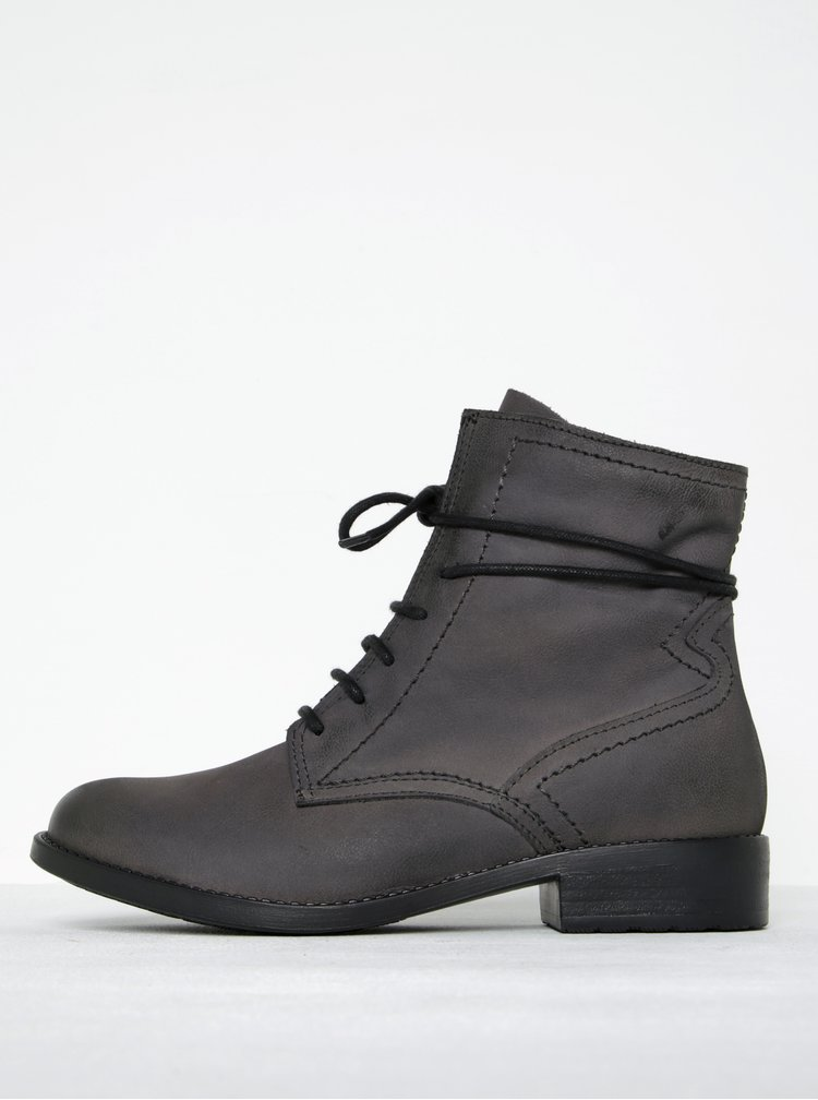 Tmavě šedé kožené kotníkové boty na zip Tamaris