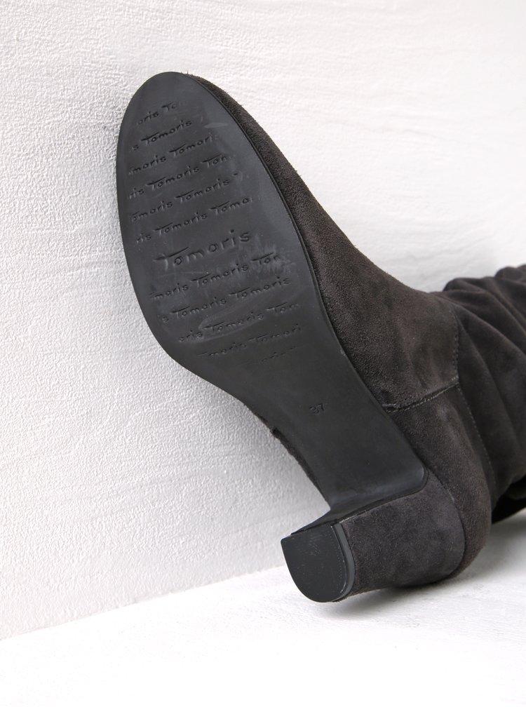 Tmavě šedé semišové kozačky s mašlí na podpatku Tamaris