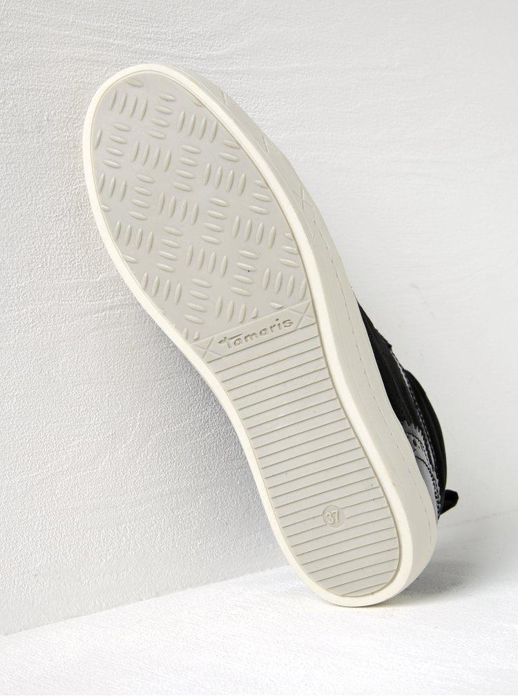 Černé kotníkové tenisky s lesklými a sametovými detaily Tamaris