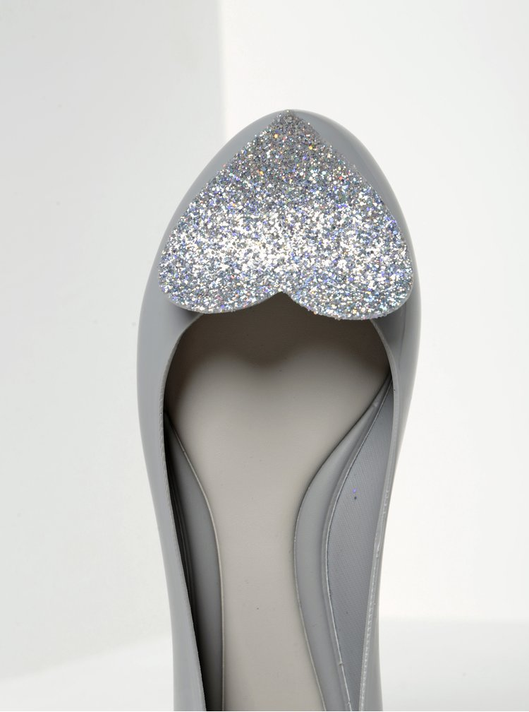 Šedé baleríny se srdcem Zaxy Glamour