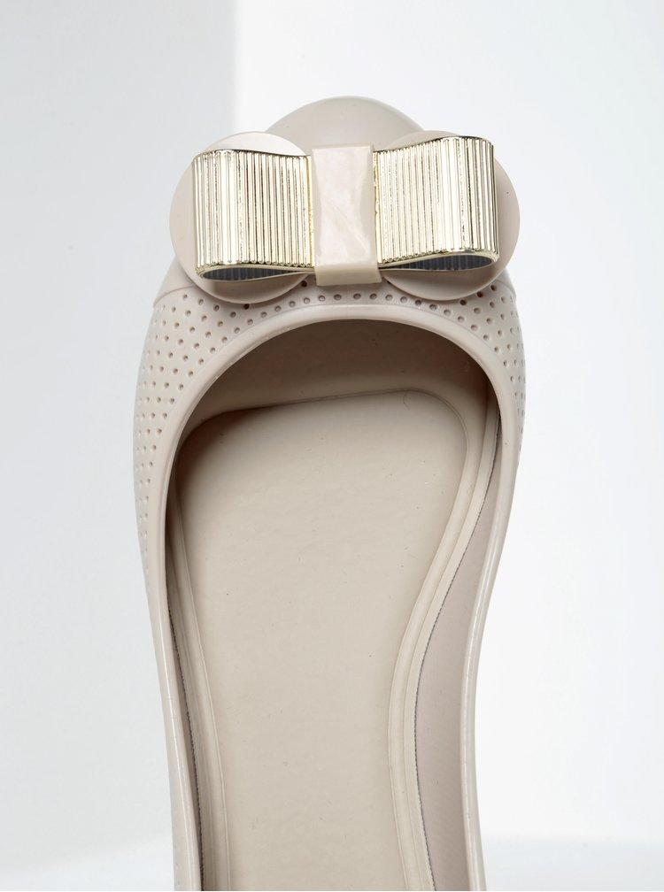 Krémové perforované baleríny s mašlí Zaxy Lace