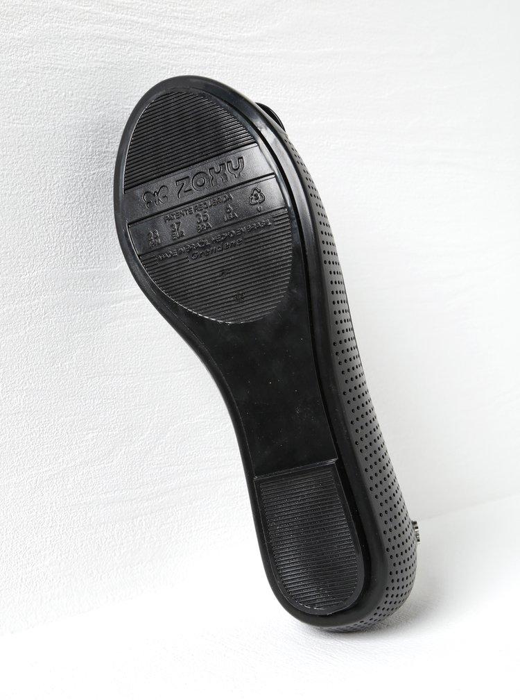 Černé perforované baleríny s mašlí Zaxy Lace