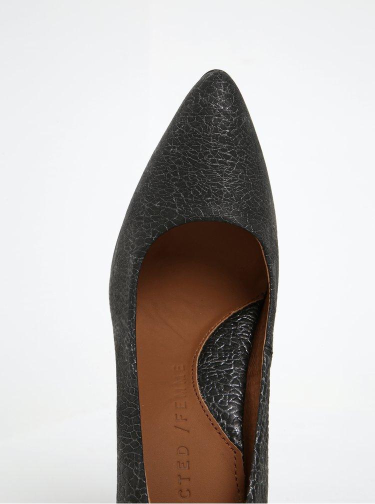 Tmavě šedé vzorované kožené lodičky Selected Femme Alexandra