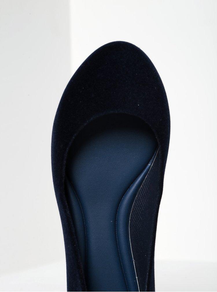Tmavě modré baleríny v semišové úpravě Zaxy Pop Flocked
