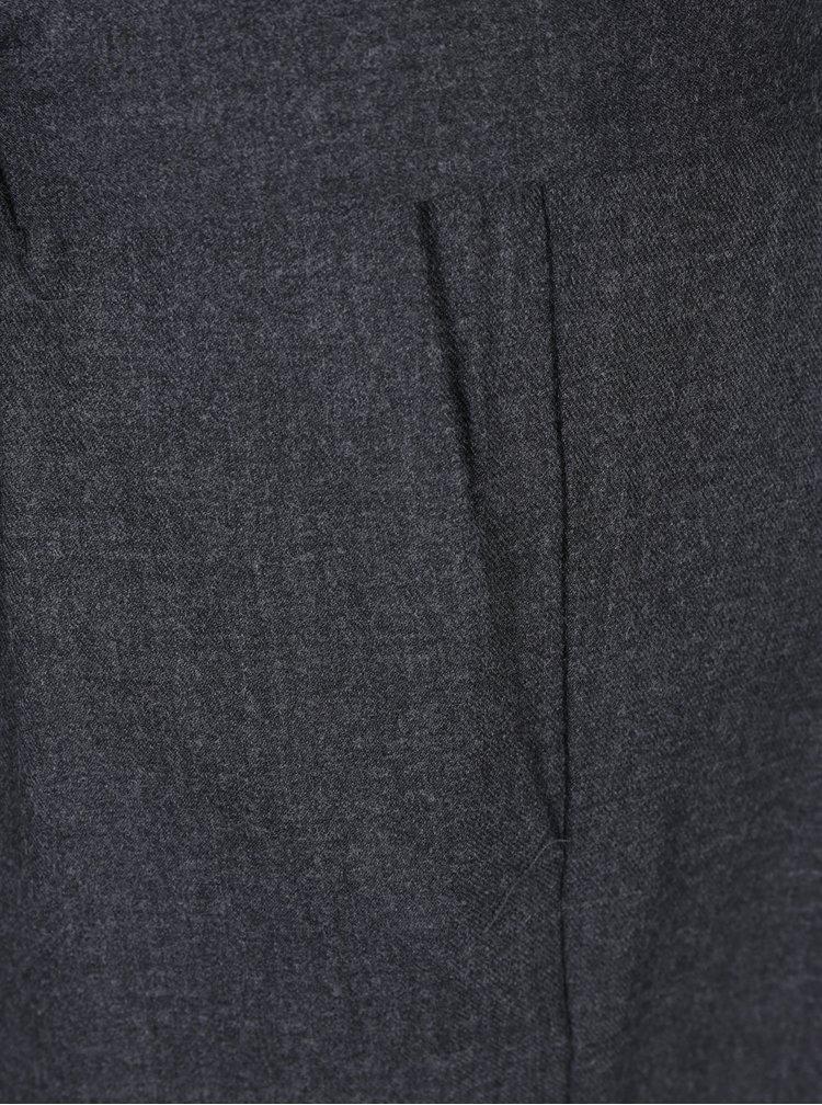 Tmavosivé voľné nohavice s vysokým pásom a prímesou vlny Selected Femme Lima