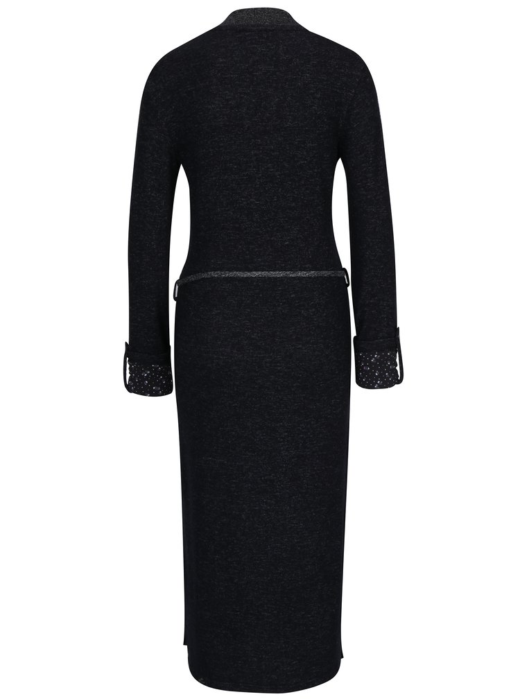 Černé svetrové žíhané šaty s dlouhým rukávem Ragwear Provence