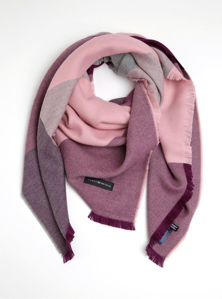 Šedo-růžová dámská šála s příměsí vlny Tommy Hilfiger Blanket