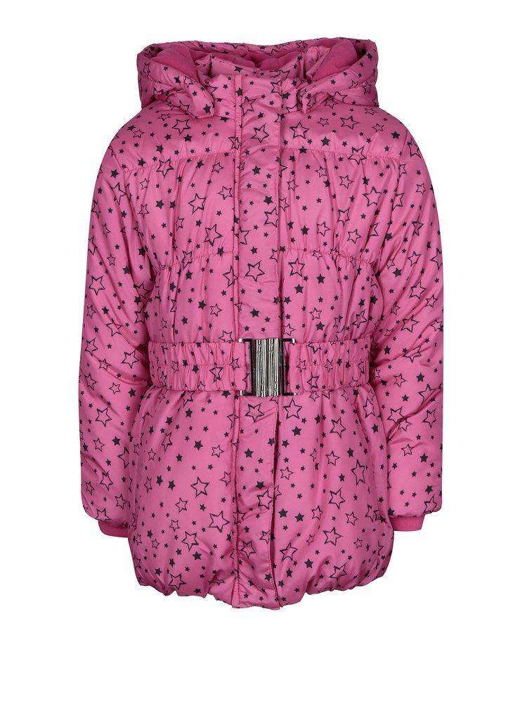 Růžová holčičí prošívaná bunda s potiskem hvězd Blue Seven