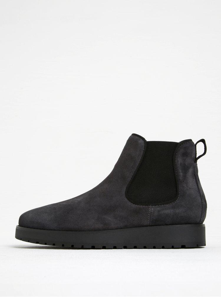 Tmavě šedé dámské semišové chelsea boty Tommy Hilfiger