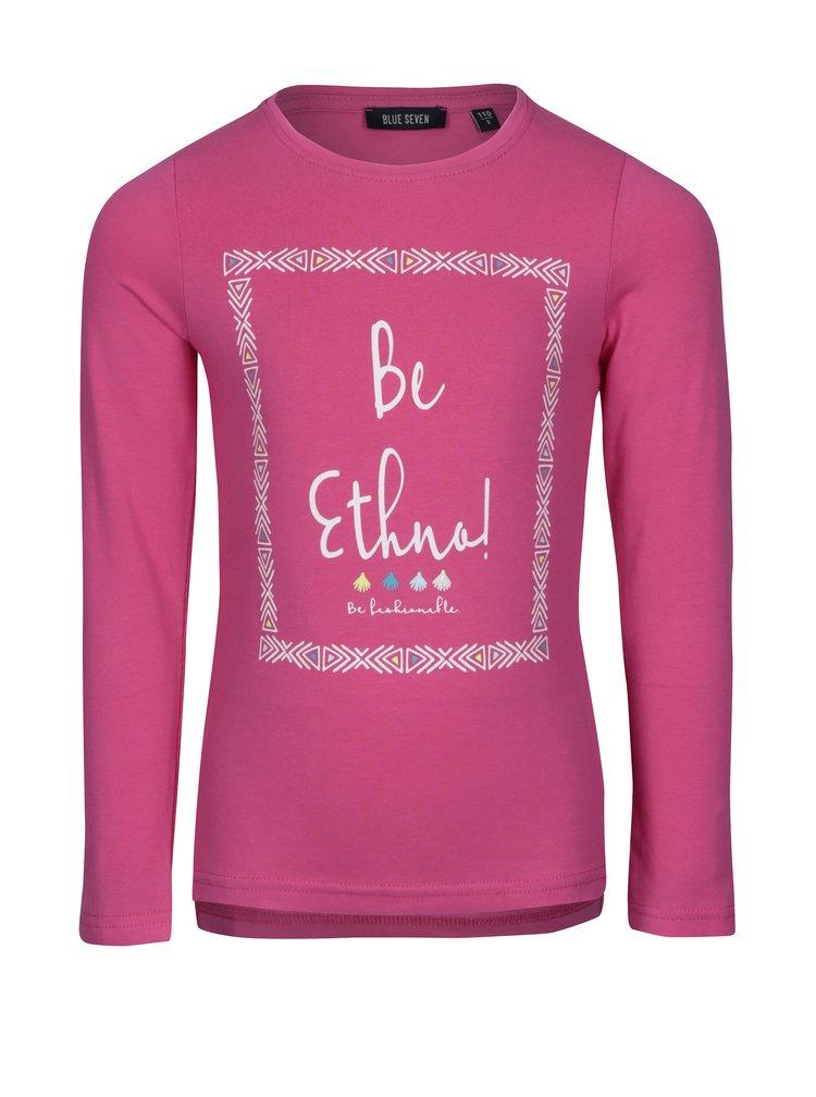 Růžové holčičí tričko s potiskem a dlouhým rukávem Blue Seven