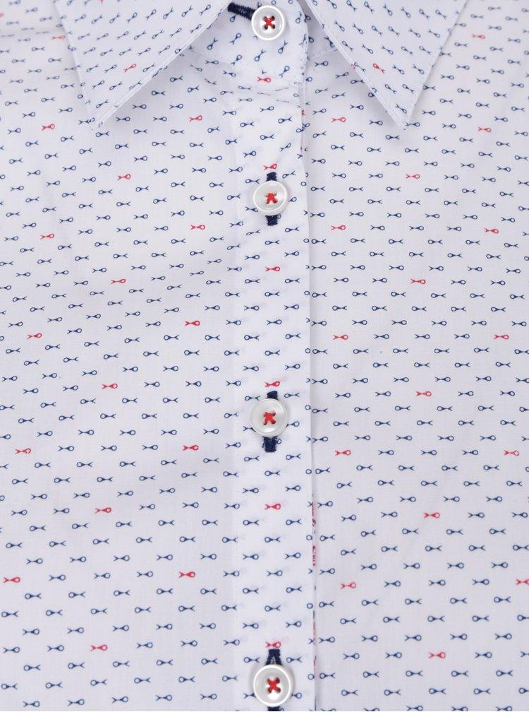 Bílá košile dámská s červeno-modrými rybkami VAVI