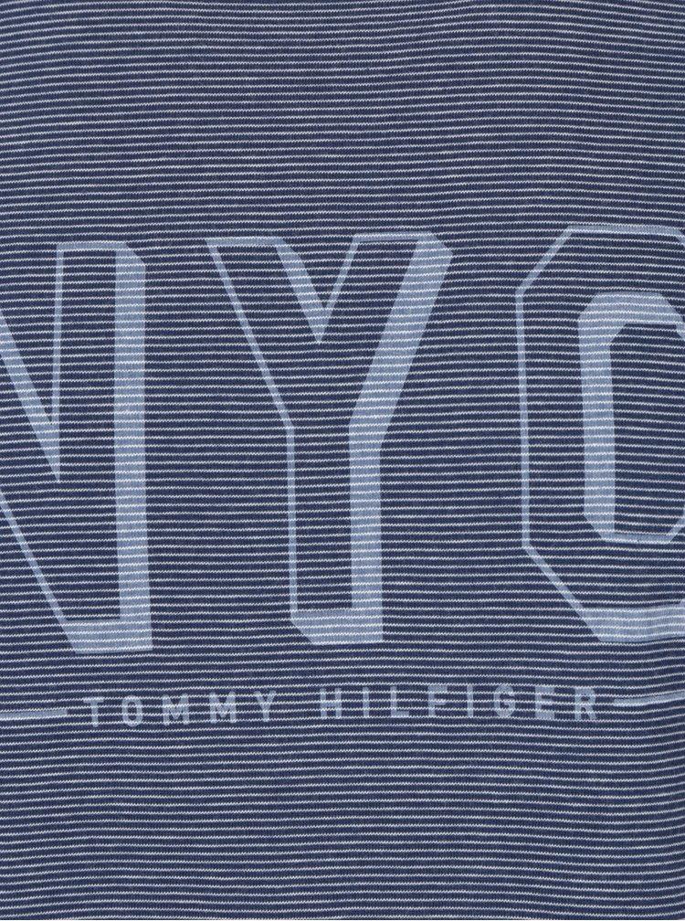 Modré pánske pruhované tričko Tommy Hilfiger Stan