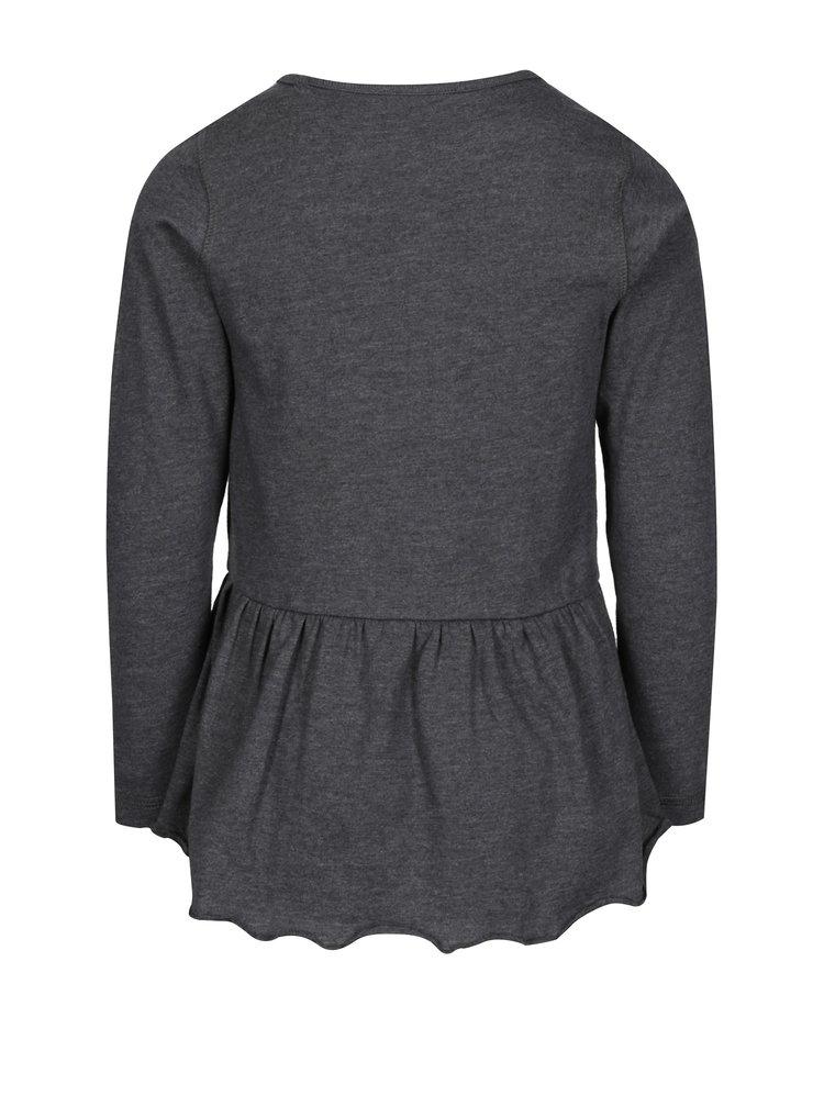 Tmavě šedé žíhané holčičí tričko s volánem a potiskem Blue Seven