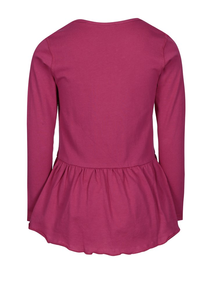 Tmavě růžové holčičí tričko s volánem a potiskem Blue Seven