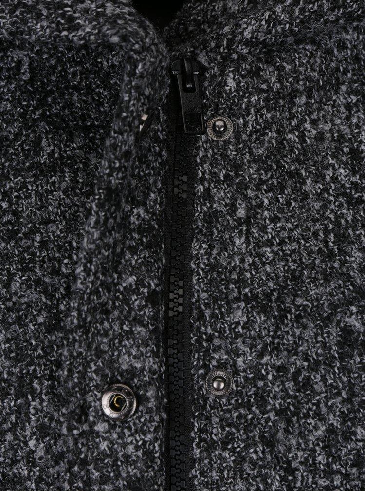 Tmavě šedý žíhaný kabát s kapucí Jacqueline de Yong Olivia
