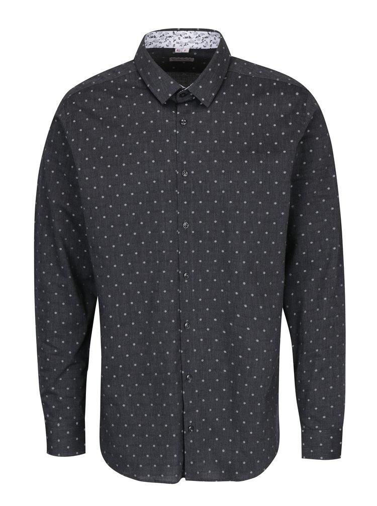 Šedá pánská puntíkovaná košile VAVI