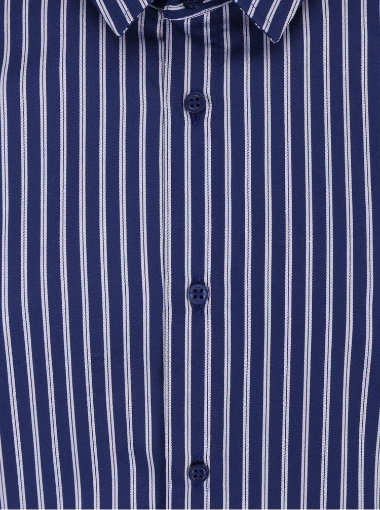Tmavě modrá formální pánská pruhovaná košile VAVI