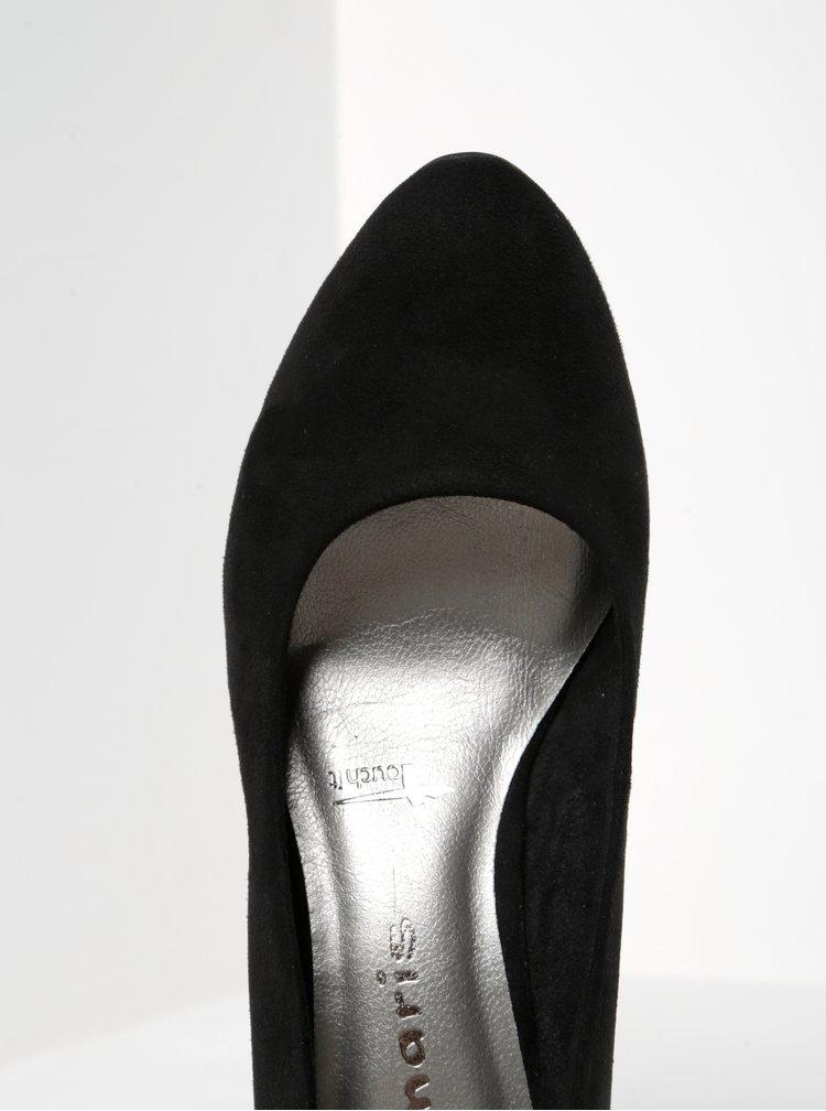 Pantofi negri cu toc si aspect de piele intoarsa Tamaris