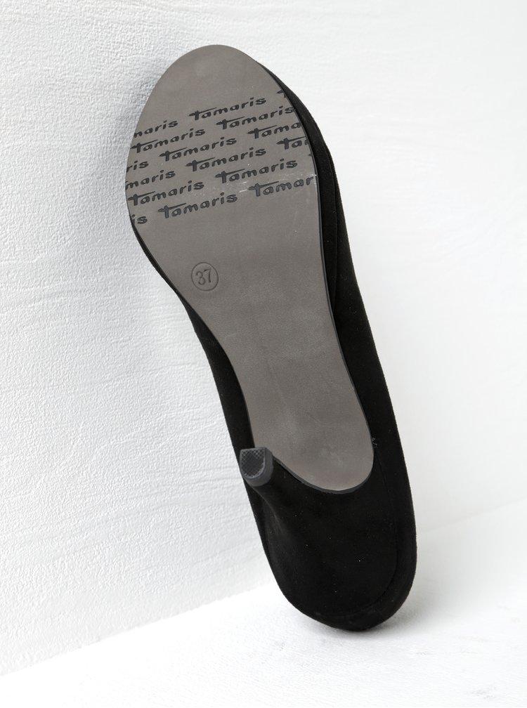Černé lodičky v semišové úpravě na vysokém podpatku Tamaris