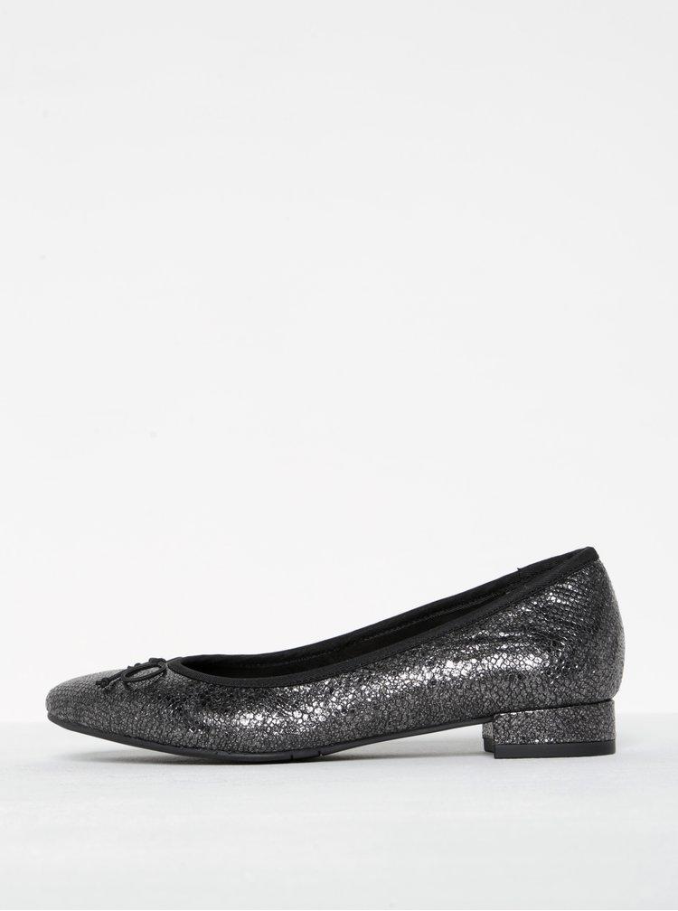 Černé třpytivé kožené baleríny Tamaris