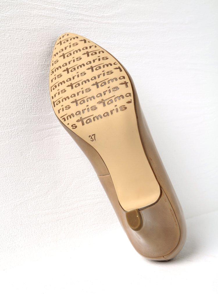 Pantofi bej lacuiti cu toc masiv Tamaris