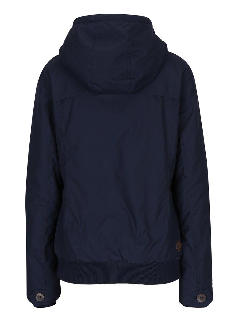 Tmavě modrá dámská bunda s umělým kožíškem a kapucí Ragwear Ewok
