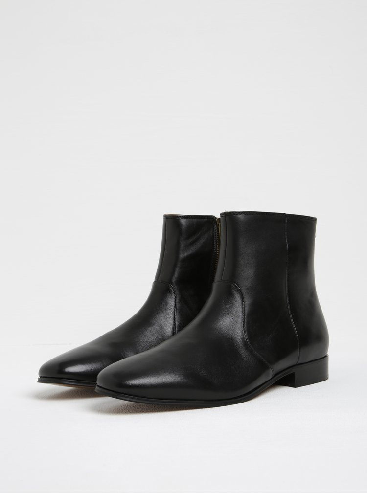 Černé pánské kožené kotníkové boty ALDO Arly