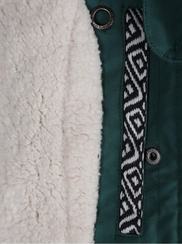 Zelená dámská bunda s umělým kožíškem a kapucí Ragwear Ewok