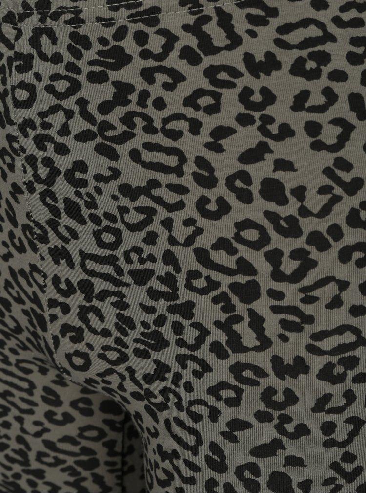 Khaki holčičí legíny s leopardím vzorem Blue Seven