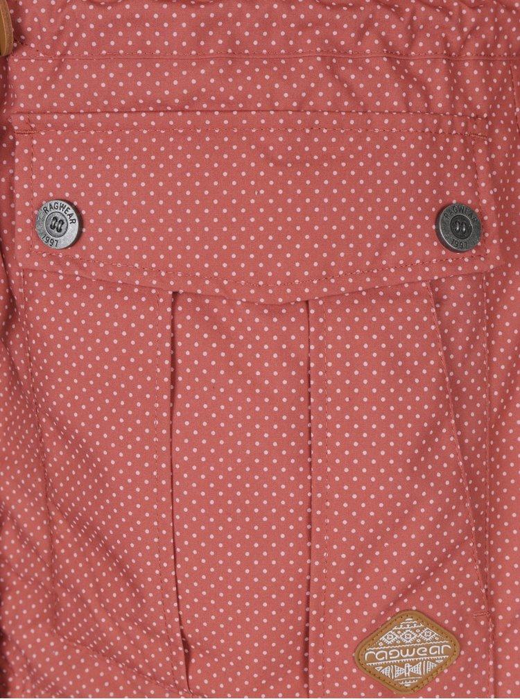 Růžová dámská zimní puntíkovaná parka Ragwear Laika Minidots