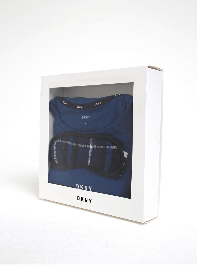 Tmavě modré dvoudílné pyžamo a maska na spaní DKNY