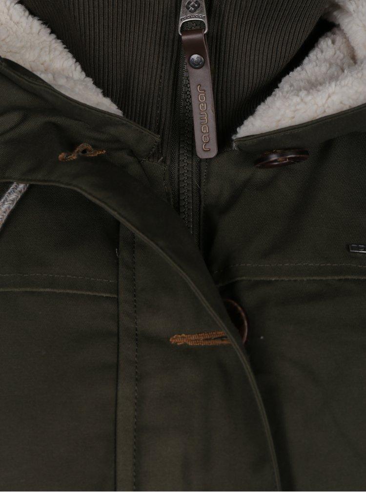 Khaki dámský kabát s kapucí a umělým kožíškem Ragwear Jane