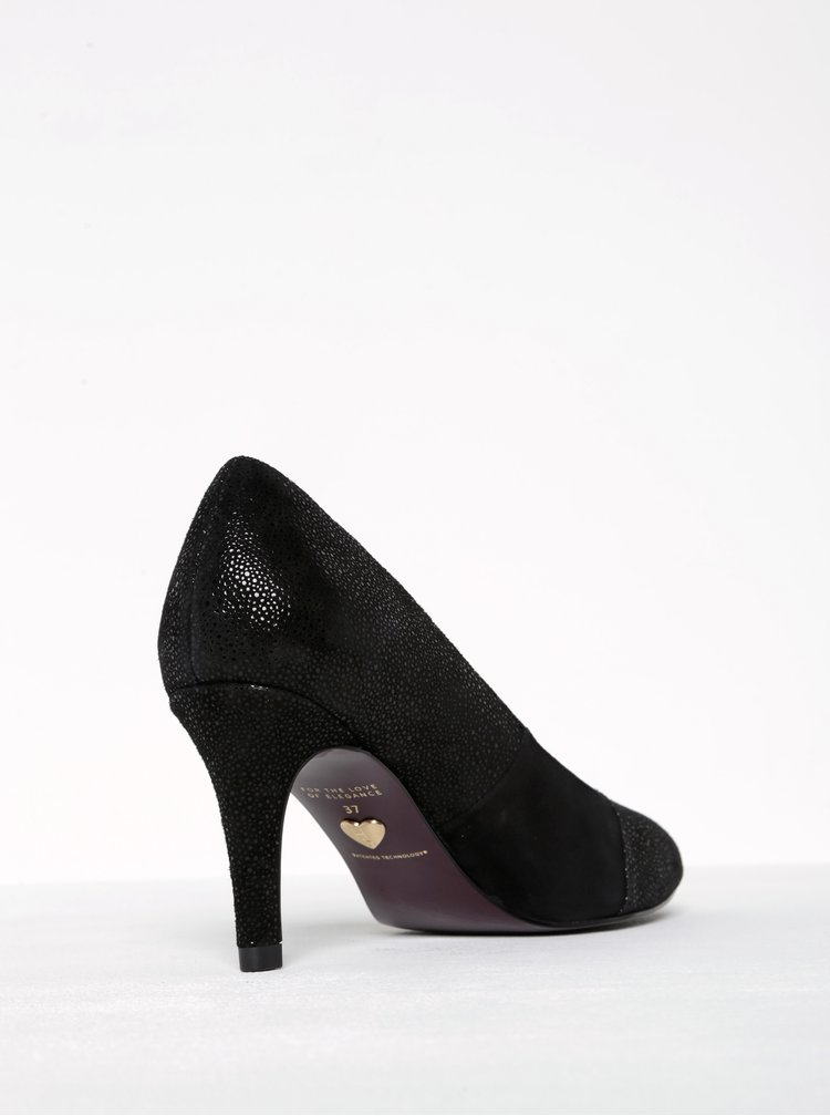 Pantofi negri din piele intoarsa cu toc cui Tamaris