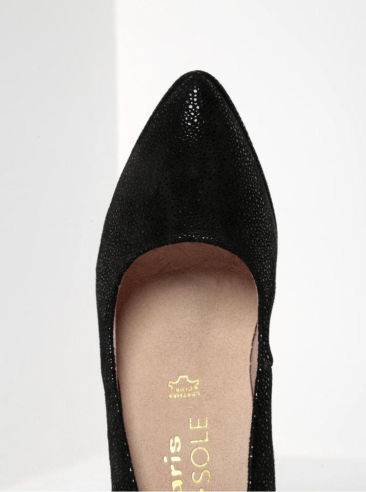 Pantofi negri din piele întoarsă cu toc cui - Tamaris