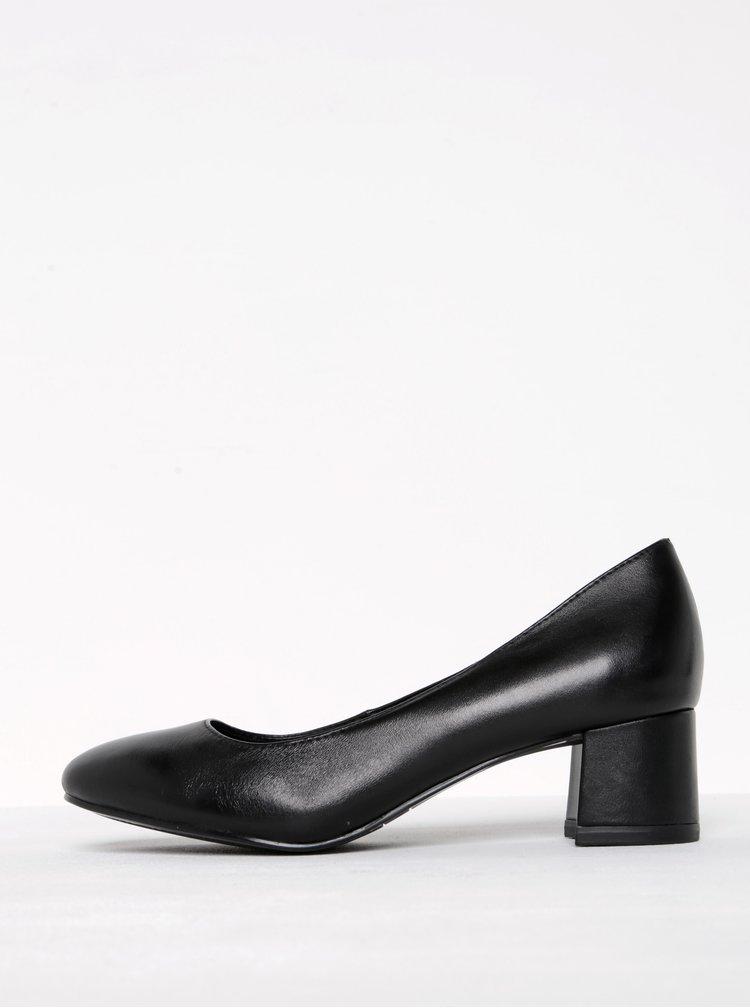 Pantofi negri din piele cu toc masiv Tamaris