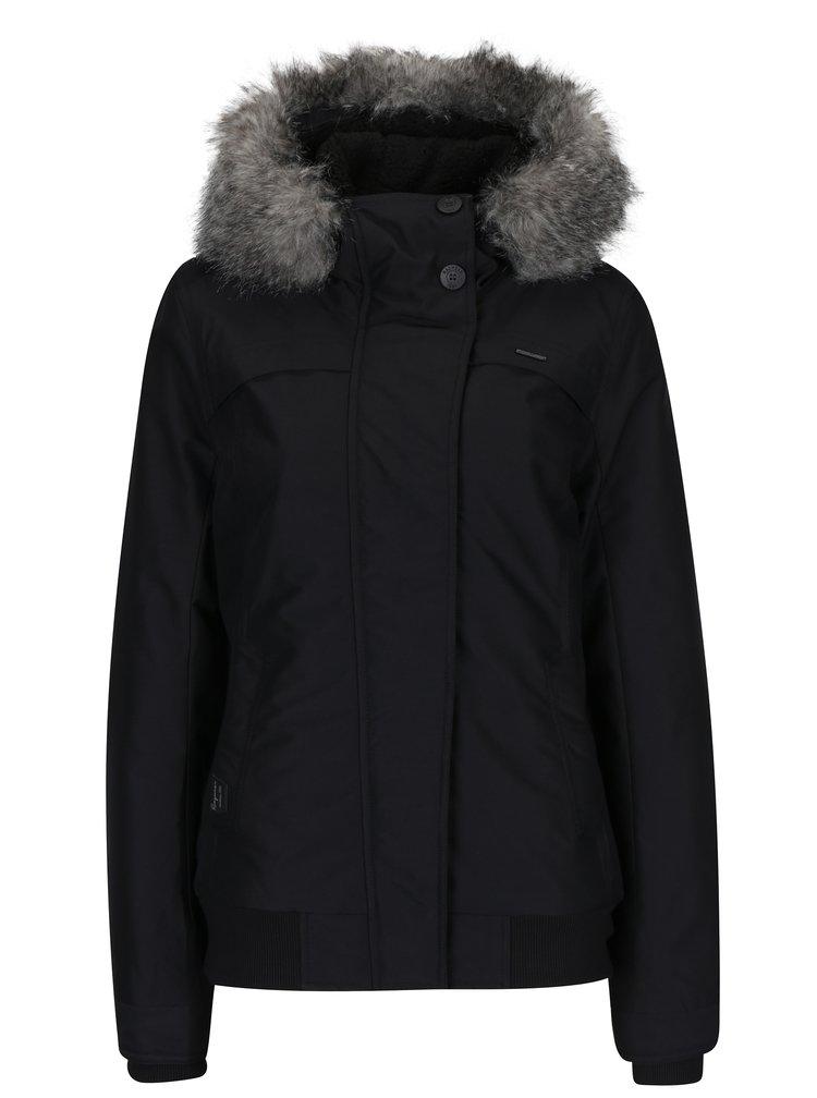 Černá dámská voděodolná bunda s kapucí a umělým kožíškem Ragwear Wooki
