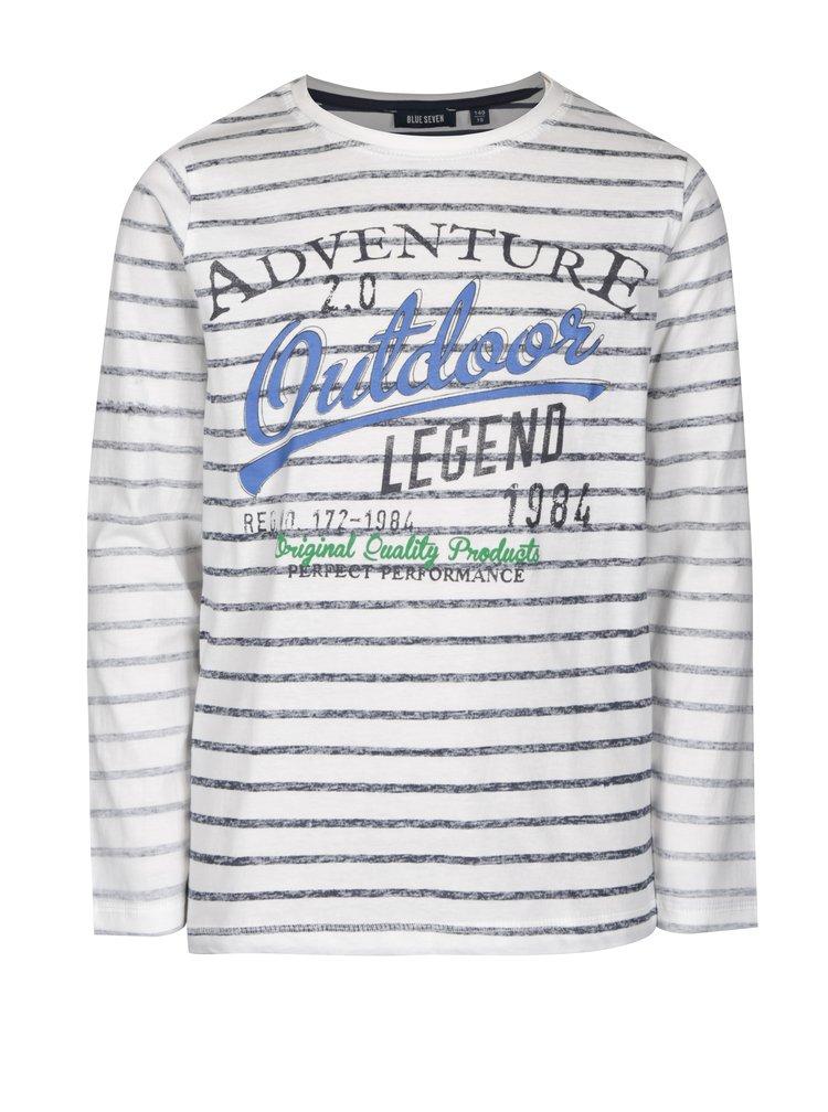 Krémové klučičí pruhované tričko s potiskem Blue Seven