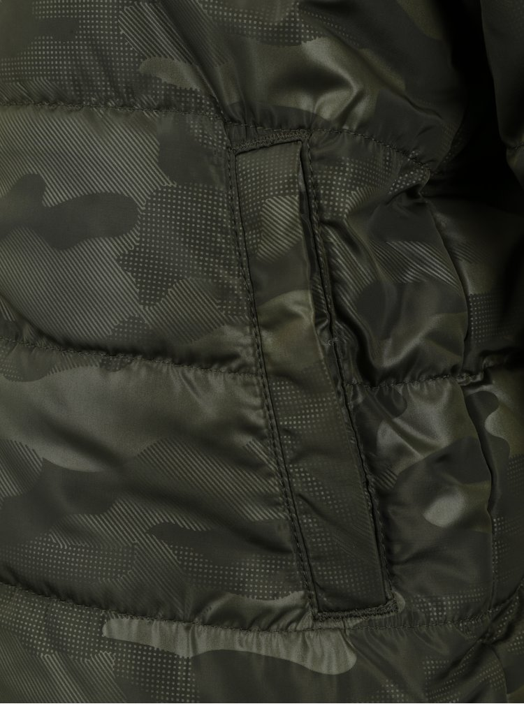 Khaki klučičí prošívaná vzorovaná bunda s kapucí name it Mit