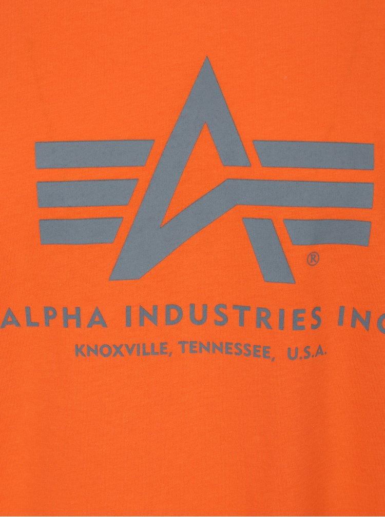 Tricou portocaliu cu print logo ALPHA INDUSTRIES