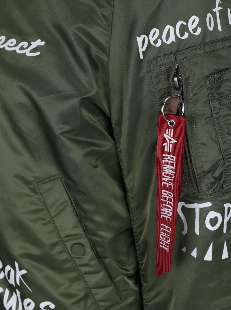 Jacheta bomber khaki cu print ALPHA INDUSTRIES