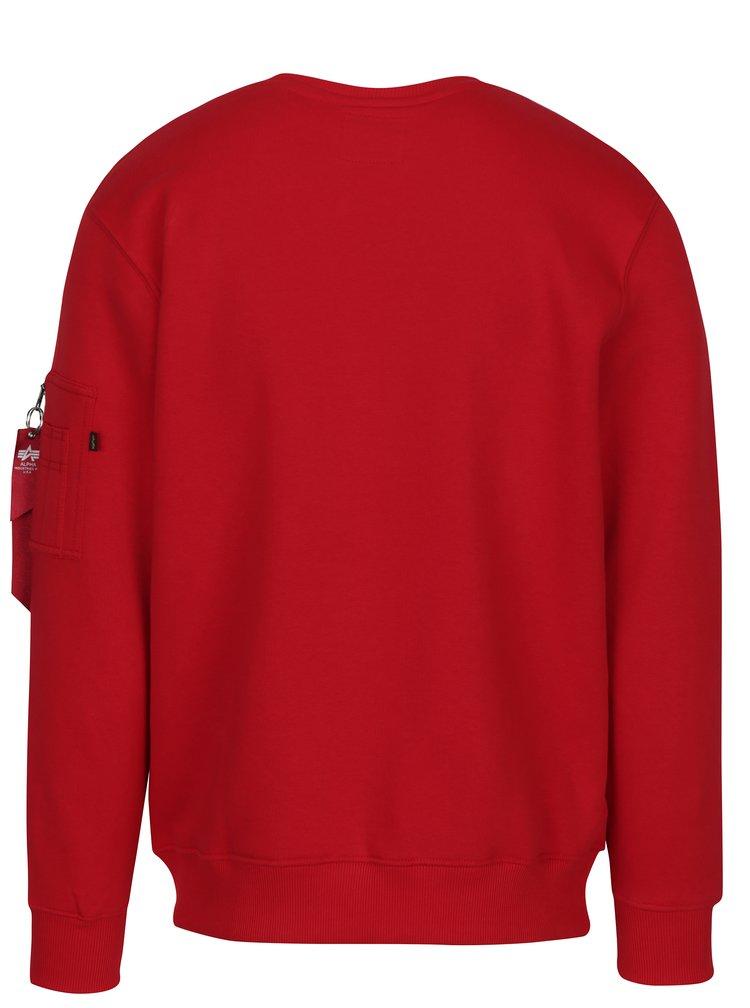 Bluză sport roșie cu inscripție reflectorizantă ALPHA INDUSTRIES