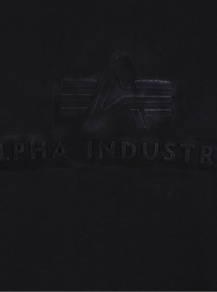 Tricou negru cu print text  ALPHA INDUSTRIES