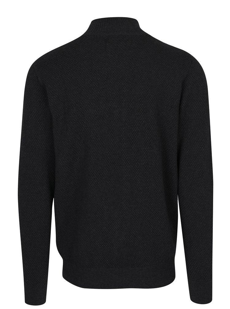 Tmavě šedý cardigan se vzorem na zip Kronstadt Erik