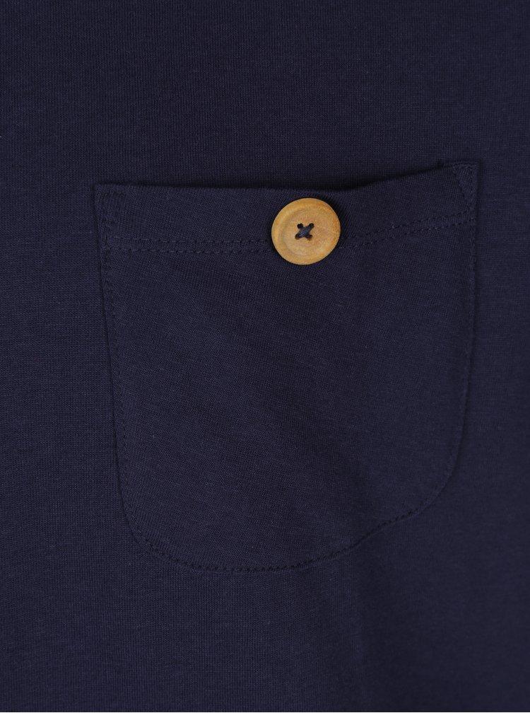 Tricou bleumarin cu buzunar Kronstadt Hey Ho