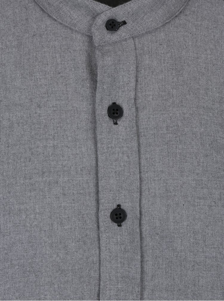 Cămașă gri cu guler tunică Kronstadt Dean Mandarin