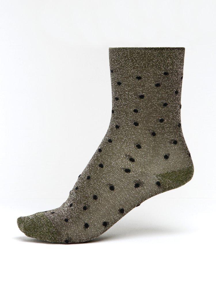 Khaki dámské třpytivé puntíkované ponožky mp Denmark Swan