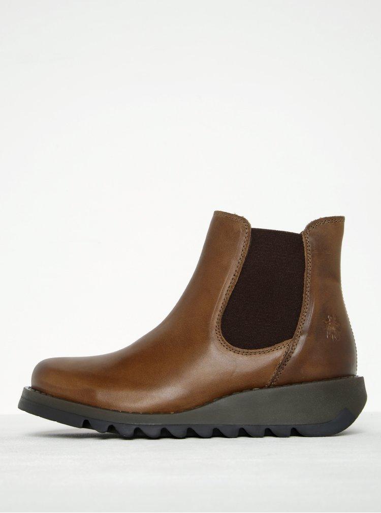 Hnědé dámské kožené chelsea boty FLY London